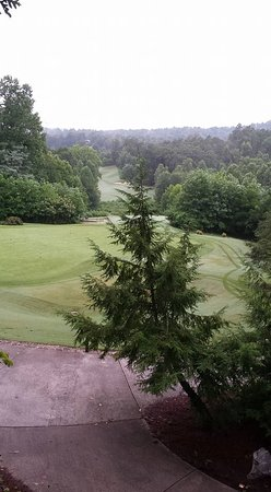 Young Harris, GA: Looking out over golf course from balcony....