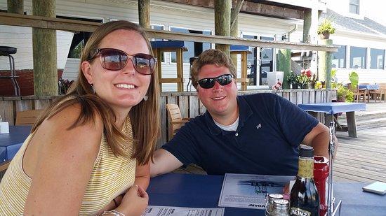 Frederica, DE: Family enjoying diner on the deck.