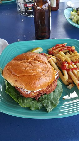 Frederica, DE: The Bay Burger $14.00 Our famous crab dip on our yummy burger and topped with melted cheddar che