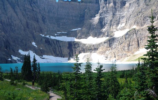 First glimpse of Iceberg Lake - Picture of Iceberg Lake Trail