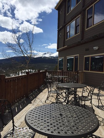The Lodge at Breckenridge: viewing deck in front of mountain and hot tub