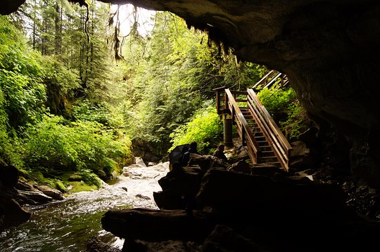 Gold River, Canada: The exit of the big cave and the river or stream running out