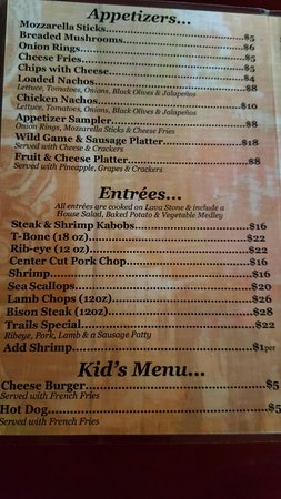 Trails End Lodge: Seating and bar, owners dog, menu