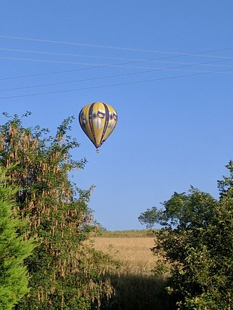Hot-Air Balloon outside of La Margotte's front door