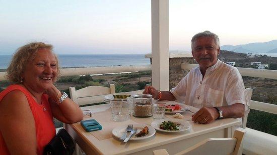 Agios Prokopios, Yunani: terrazza ristorante vista mare