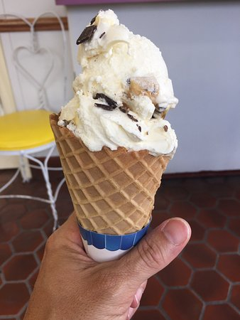 Burlington, WI : Chocolate chip cookie dough with waffle cone. Best ever!