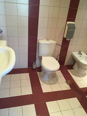 Bilyana Beach Hotel: Et kæmpe badeværelse med stort spejl over vasken, toilet, fodvask, bruser og badekar