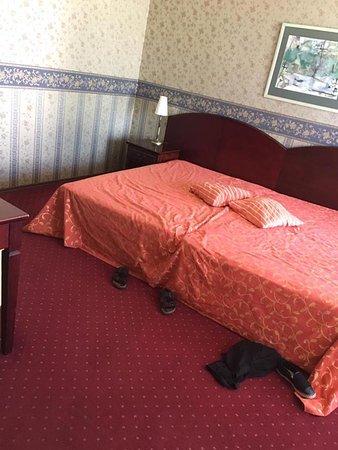 Bilyana Beach Hotel: Her ses en kæmpe dobbeltseng. Vi sov 4 19 årrige piger deri.I dette rum er der også fjernsyn.
