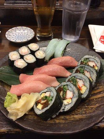 Doraville, GA: Sushi mixture: Futomaki; ebimaki; toro and ika nigiri