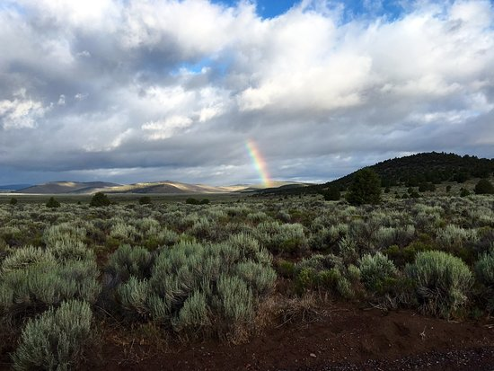 Central Oregon, OR: A rare rainbow sighted on the high plateau desert.