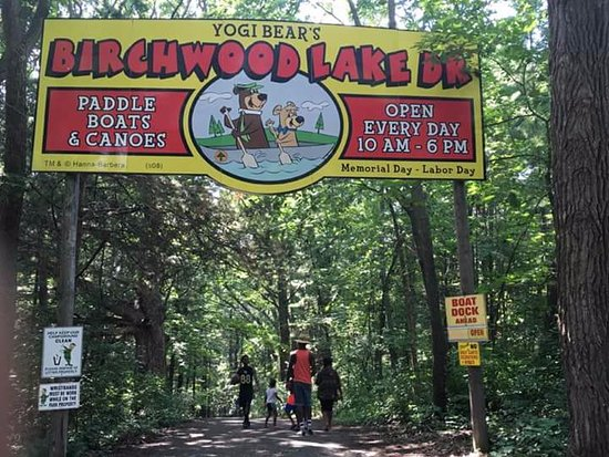 Yogi Bear's Jellystone Park Camp-Resort: Headed towards the paddle boats & canoes. Note: What goes down MUST come up. #Hills
