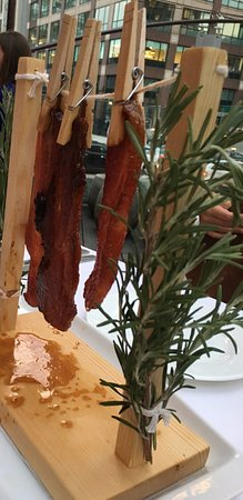Bacon on clothes line - Picture of David Burke Kitchen, New ...