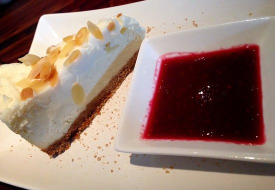 Red Wing, MN: cheesecake with raspberry sauce!