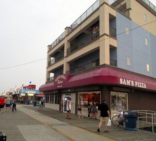 View of hotel - on top of pizza place.