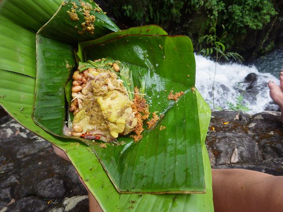 7 Air Terjun Sambangan: Lunch in a banana leaf at the waterfall. One of the best meals of the entire trip.