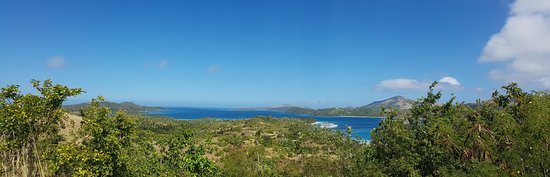 Nanuya Island Resort: View from the top of the island looking down to Blue Lagoon