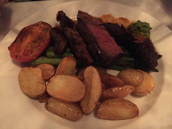 Devon's: Grilled Hanger Steak, Guajillo Vinaigrette, Cilantro Purée, Roasted Fingerlings, Tomato, Asparag