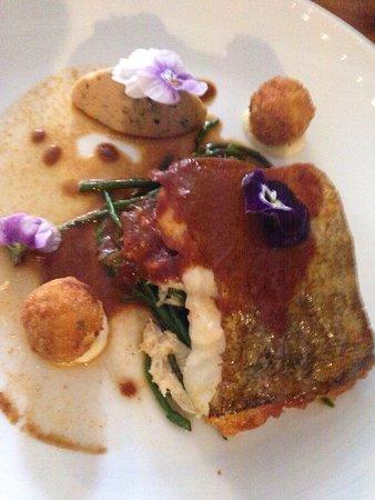 Little Wymondley, UK: Strawberry kulfi, raspberry with meringue, cod & pork belly