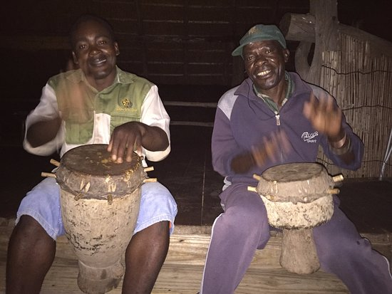 Lake Kariba, Zimbabwe: The drumboys telling usanother great dinner is ready