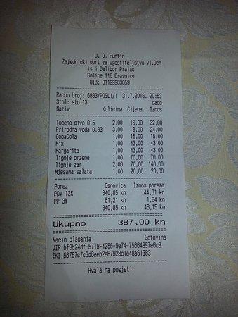Drasnice, Croacia: Vacsora nyugta 1.