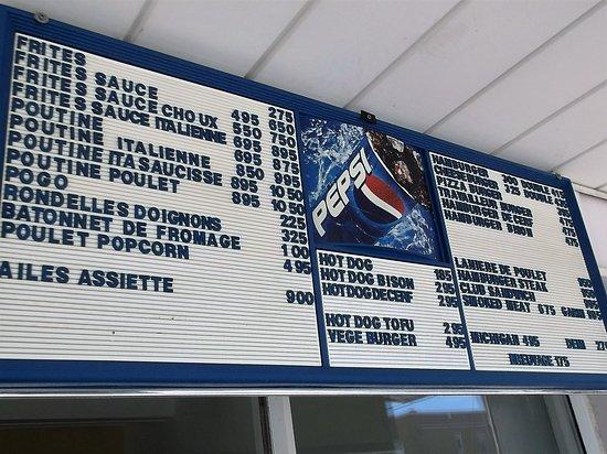 Shawinigan, Καναδάς: Le menu au 30-07-2016