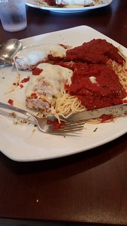 Little Italy: Chicken parm after I already cut it in half and started to dig in!