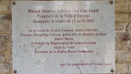Le Clos Arsne Lupin Plaque