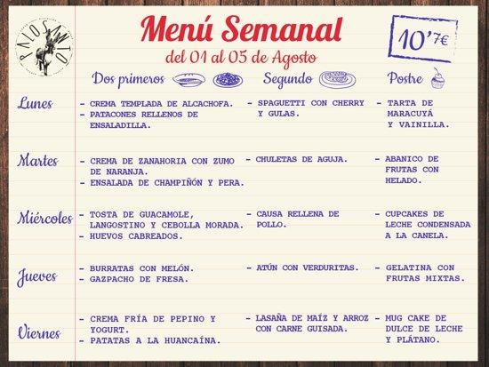 como hacer un menu semanal para restaurante