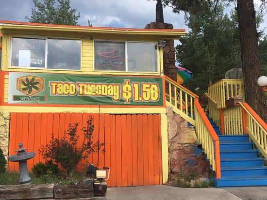 Woodland Park, CO: Pepe Serrano's, Colorful Exterior