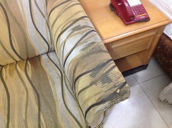 Kalyan Residency : The worn out condition of the sofa. The sofa is torn.
