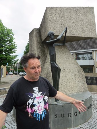 History Trips: Murk describes the Polish Memorial to their airborne troops in Driel.