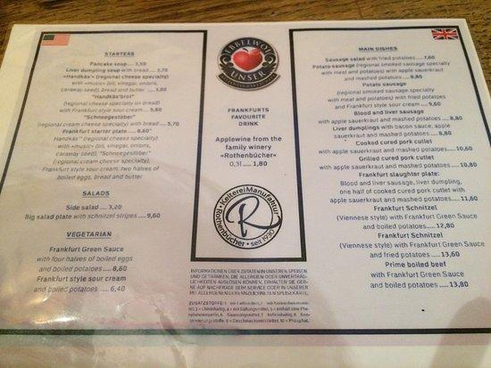Ebbelwoi Unser : menu