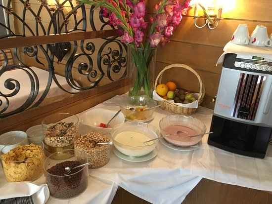 Edelweiss: Fresh fuite, cereal and yogurt selection at the breakfast buffet
