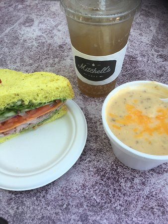 Mitchell's Cafe: Veggie sandwich with ham, vanilla Italian soda, and potato soup. Yum