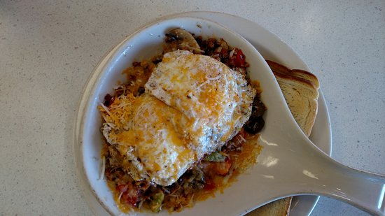Milford, UT: Two eggs over easy over hash browns with veggies