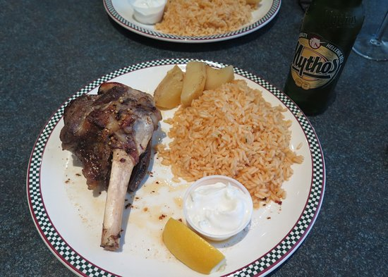 It's All Greek To Me : Roast lamb shank with rice and lemon potato