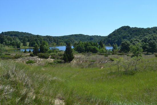 Saugatuck, MI: View off the other side of the dune to a beautiful hidden lake