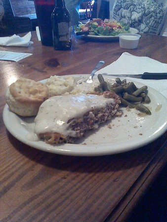 Okemah, OK: Chicken fried steak with mashed potatoes, green beans and a biscuit. The steak was half eaten in