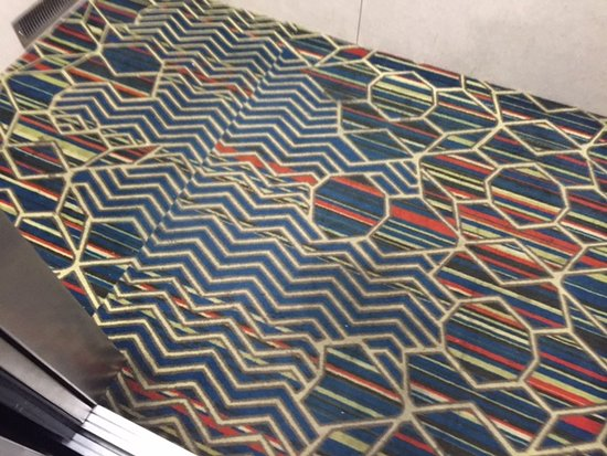 Hampton Inn and Suites Pueblo-Southgate: stained elevator carpet -- to is also filled with particles (photo does not show)