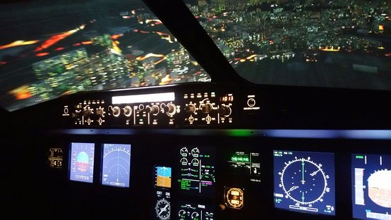 VIEW ON THE AIRBUS A-320 FLIGHT SIMULATOR OF AVIASIM NEYDENS, JULY 2016.