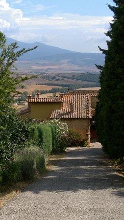 Il Colombaiolo: 由大門看農莊背面