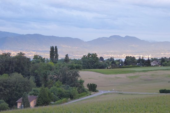 Vufflens-le-Château, Sveits: Views over field, trees, Lake Geneva and the Alps