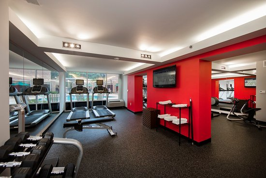 Athens, GA: A workout facility with all the amenities and a pool view
