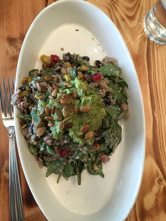 Quinoa moosh salad..ask for a kind of dressing on the side WHEN ORDERING. !