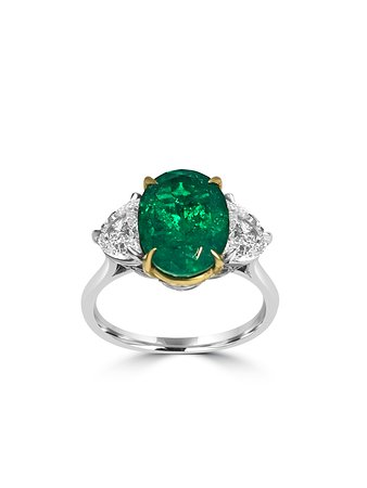 jewelry luxury owned en emerald gold ring fr lxrandco rings and estate vintage us large diamond pre