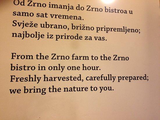 Zrno bio bistro : Farm 1 hour from the restaurant.