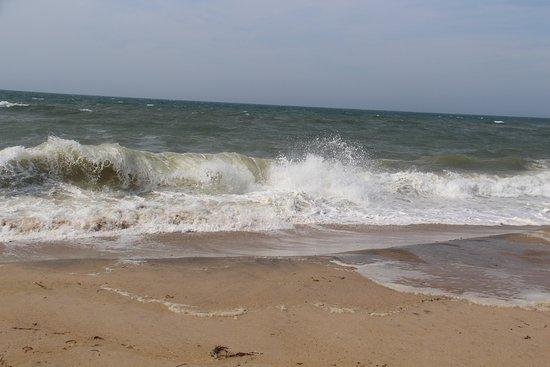 South Beach: Waves crashing on the shoreline