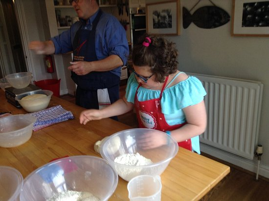 Manna from Devon Cooking School: Milly weighs her dough out under David's watchful eye
