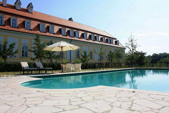 Hotel Château Béla: Pool view
