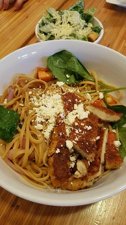 Noodles and Company: Whole Grain Tuscan Fresca with parmesan crusted chicken breast.